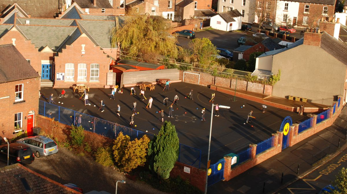 Aerial view of Stanwix School from St <ichael's Church.